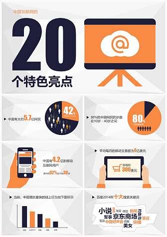 市场分析报告-中国互联网的20个特色亮点PPT模板